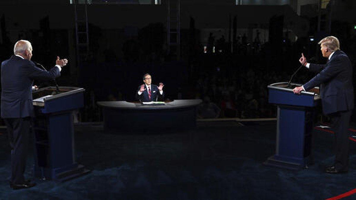 El presidente Donald Trump y el candidato presidencial demócrata, el ex vicepresidente Joe...