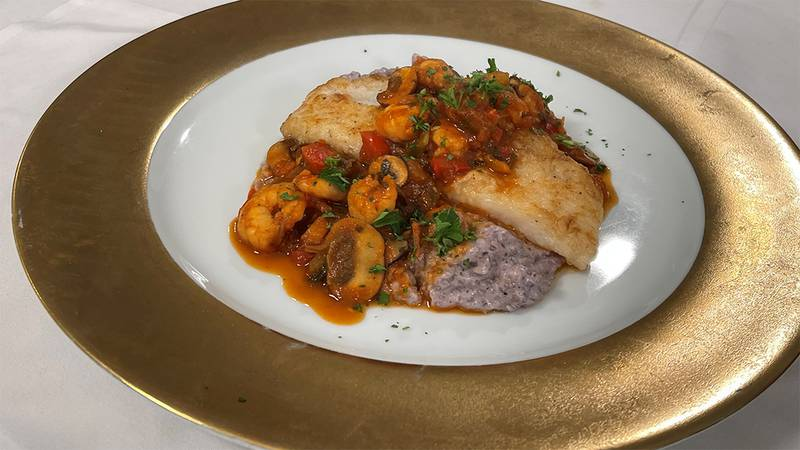 Catfish and Shrimp over Grits