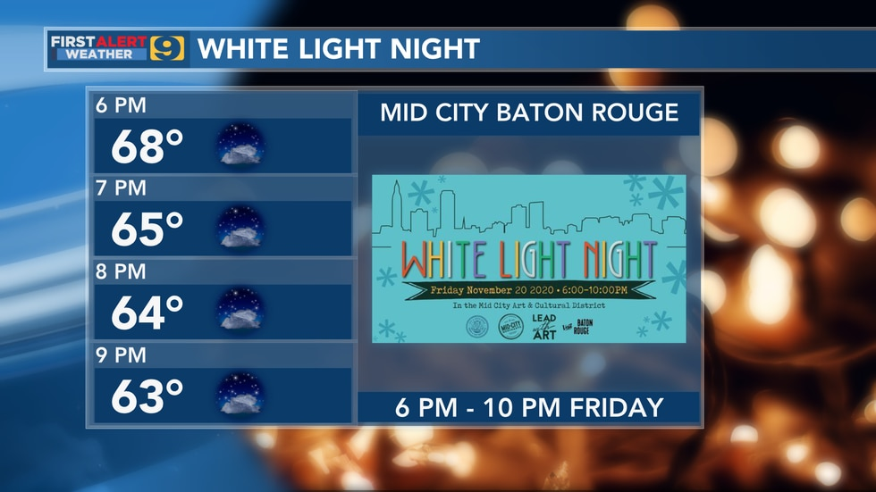 Forecast for White Light Night in Mid City Baton Rouge scheduled for 6 p.m. – 10 p.m. Friday,...