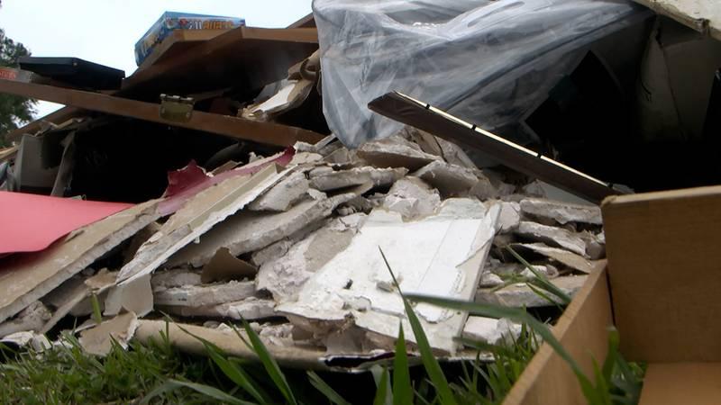 Hurricane Ida debris in Ascension Parish.