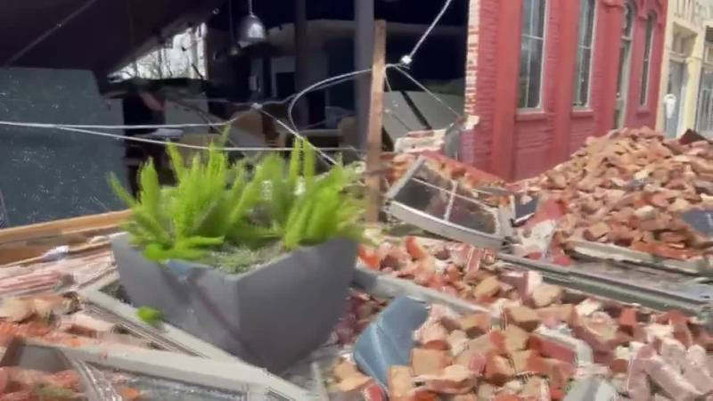 Hurricane Ida damage on Main Street in Houma, Louisiana.