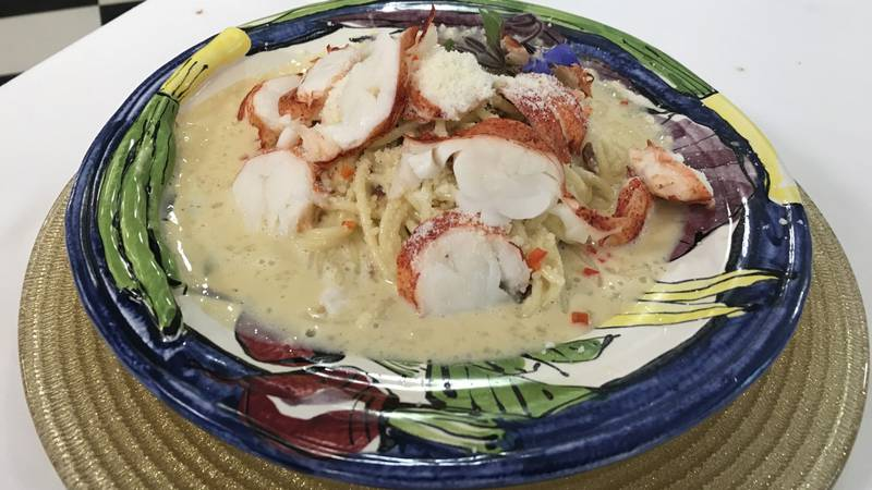 Spaghetti Carbonara with Lobster and Pecorino Romano