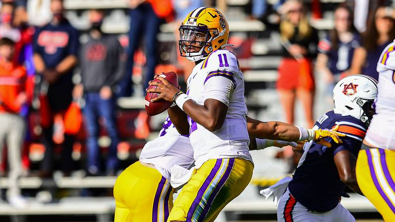 TJ Finley of the LSU Tigers during the first half of a game against the Auburn Tigers at...