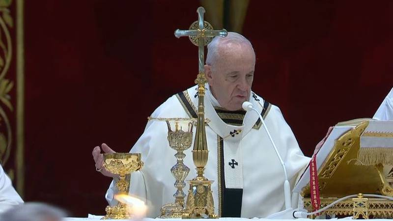 Pope Francis holds Easter service in empty Vatican
