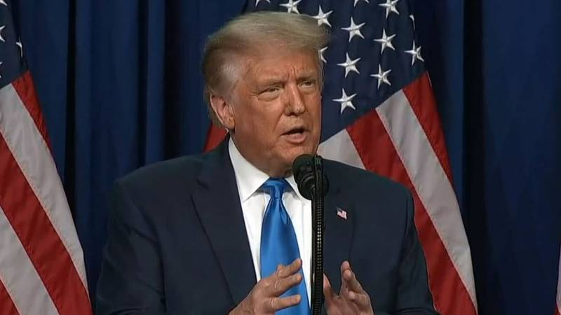 President Donald Trump addresses delegates at the first day of the Republican National...