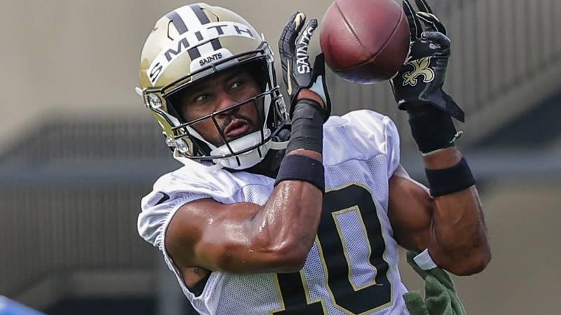 New Orleans Saints wide receiver Tre'Quan Smith (10) will make his season debut Monday. (AP...