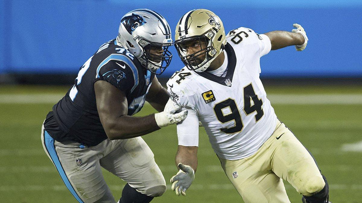 New Orleans Saints defensive end Cameron Jordan (94) works to get past Carolina Panthers...