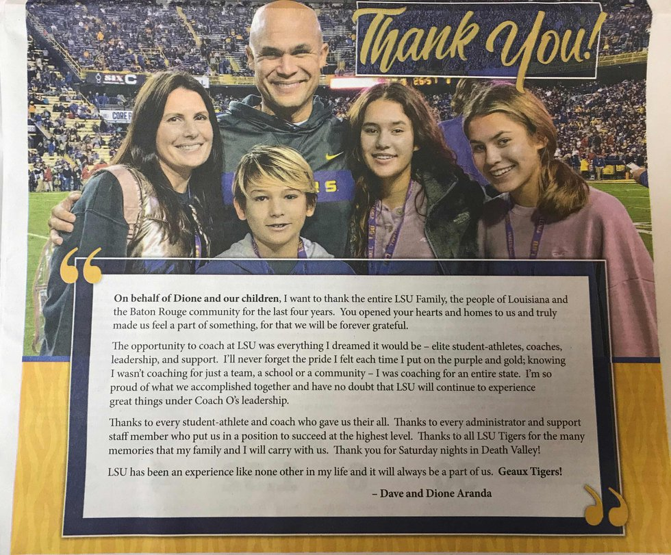 Former LSU defensive coordinator Dave Aranda and his wife Dione paid for an advertisement in...