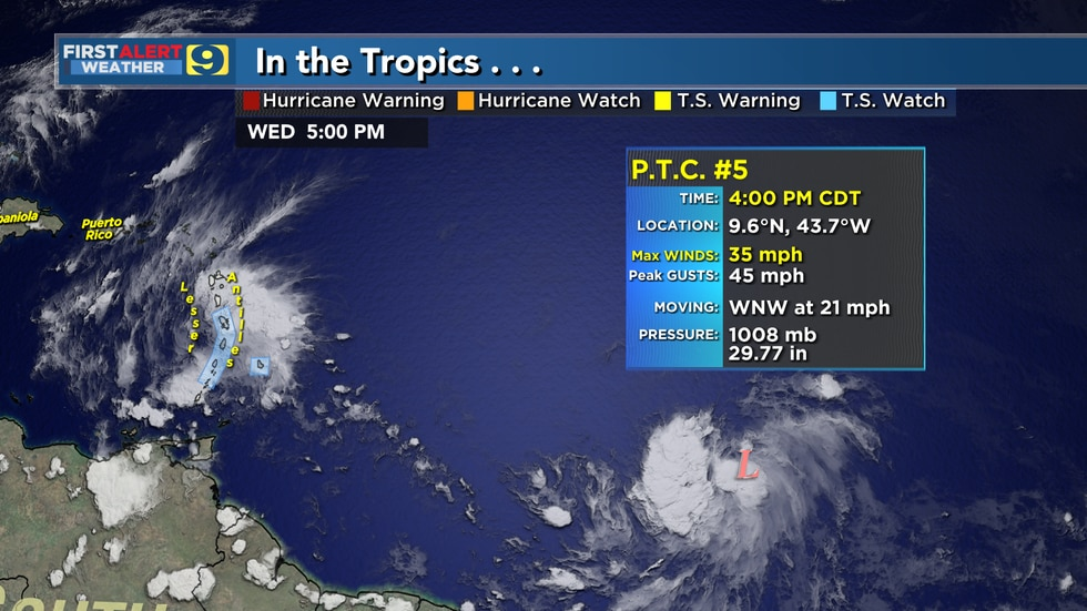 Forecast for Potential Tropical Cyclone #5, as of 4 p.m. Wednesday, June 30, 2021.