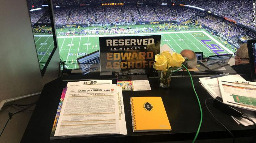 A work station at the College Football Playoff National Championship was reserved for Edward...