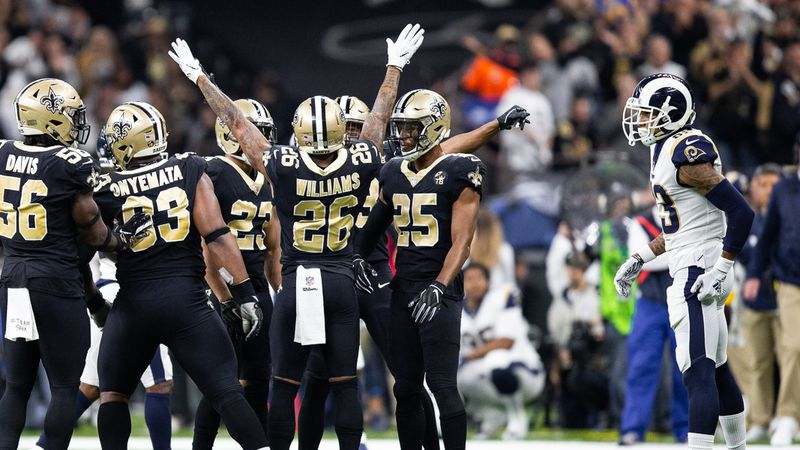 PJ Williams and the Saints defense celebrate after a big stop in the NFC Championship game.