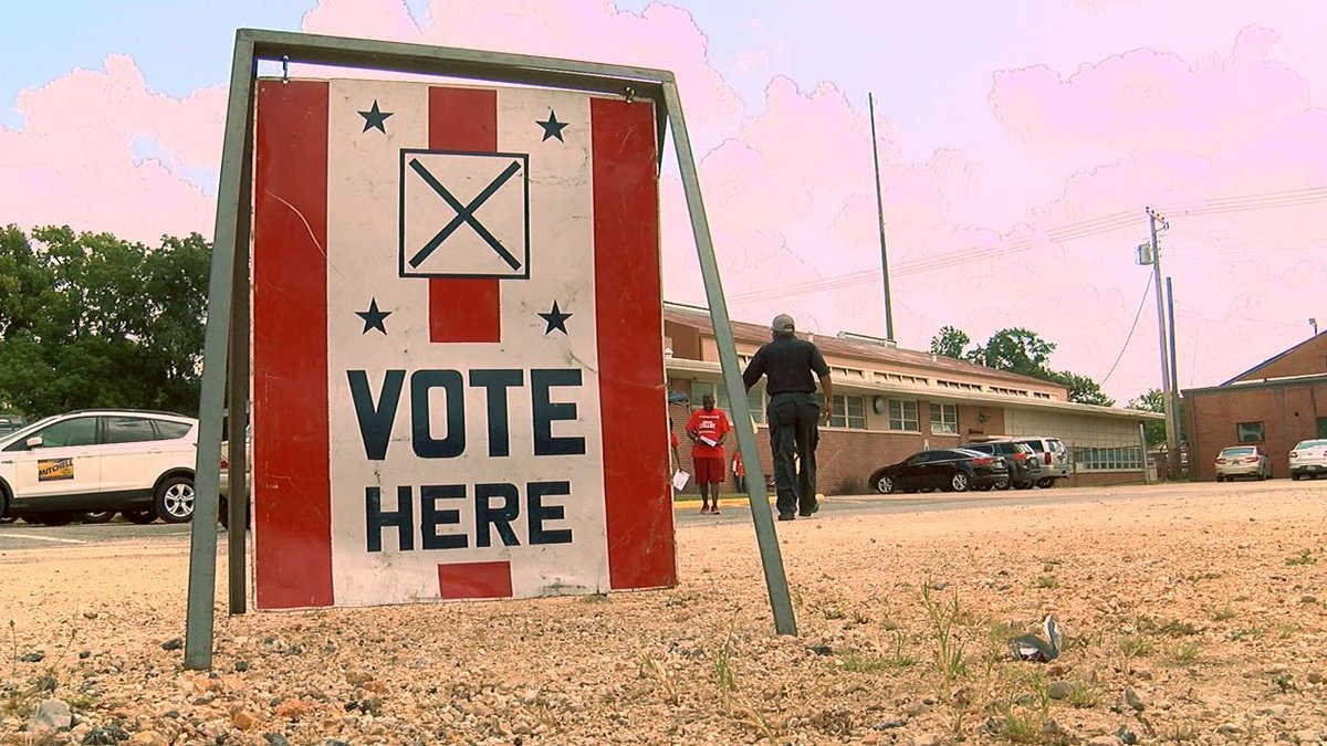 Sign for voting location. (Source: WBRC video)