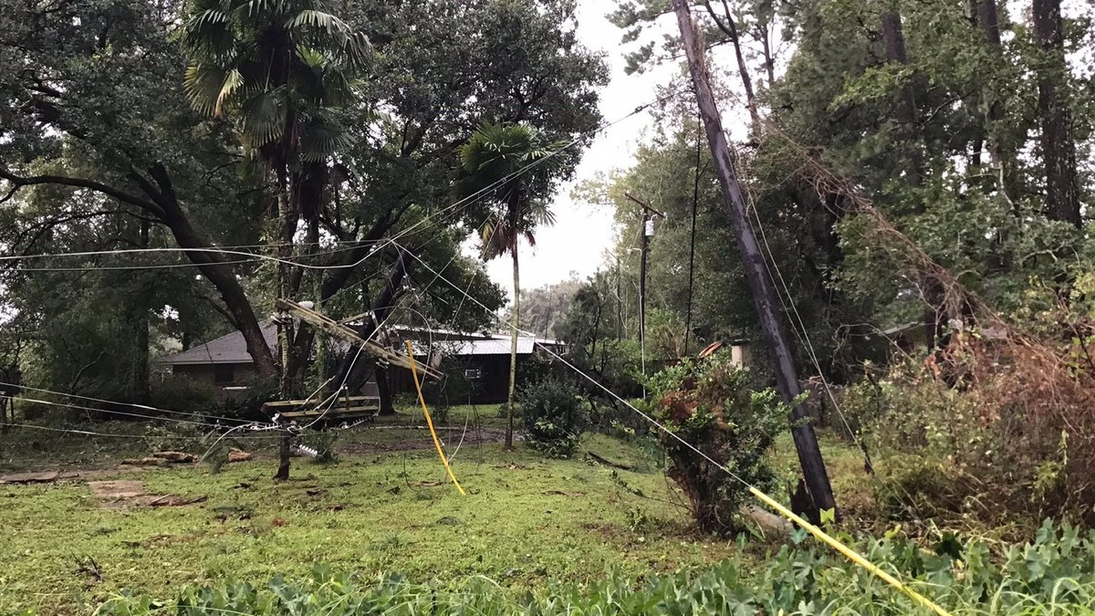 A photograph provided by DEMCO shows powerlines down following Hurricane Ida.