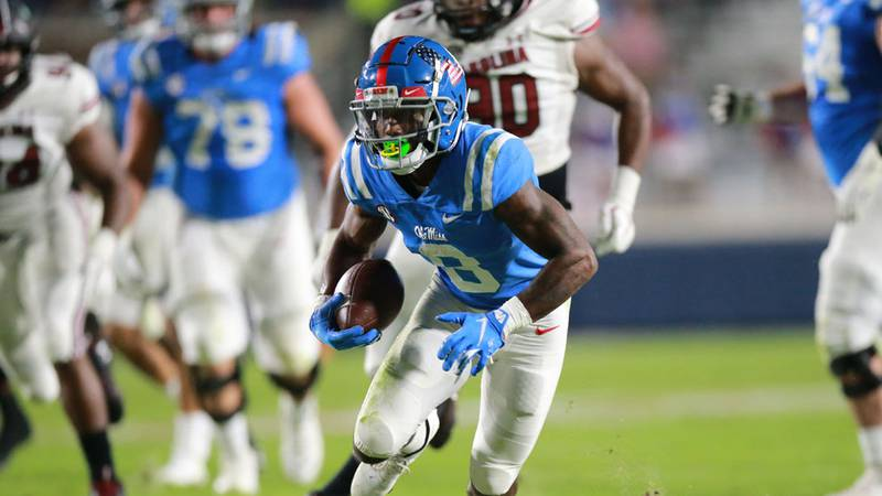 Elijah Moore had 13 catches for 225 yards against South Carolina.