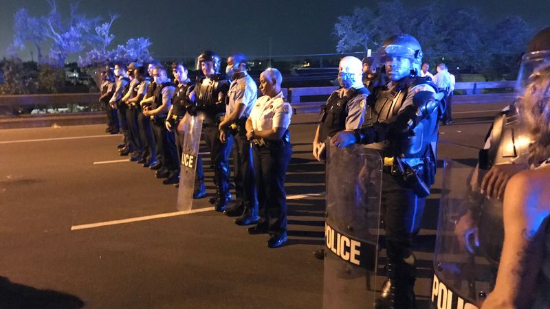 I-10 near the Superdome in New Orleans was shutdown for several hours by people protesting...