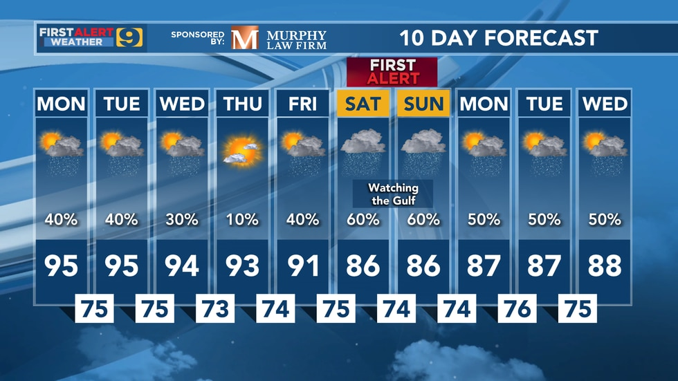 10 day forecast as of Monday, June 14.