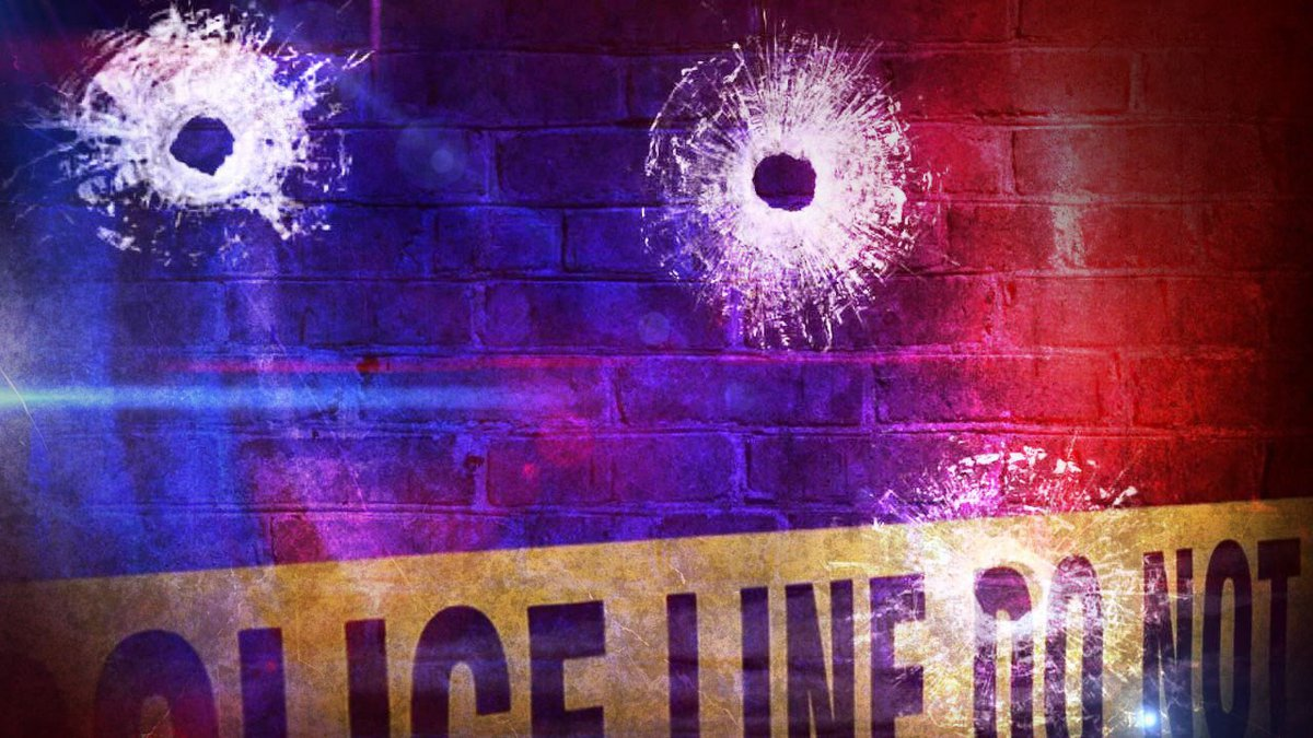Crime scene with bullet holes