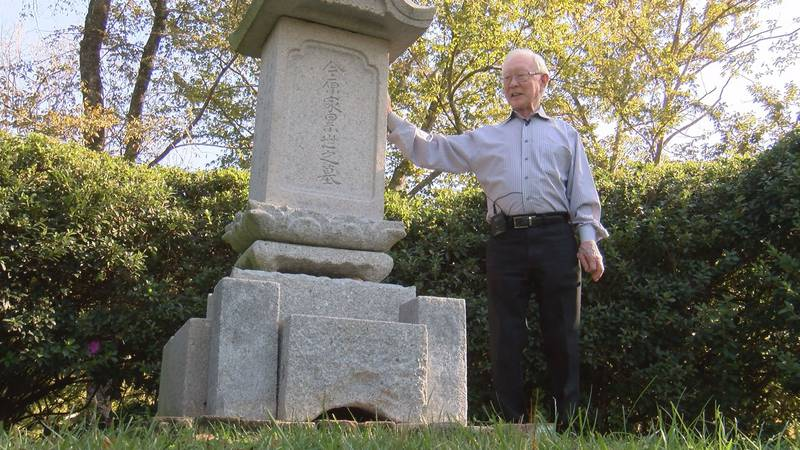 Walter Imahara stands next to his family monument inside his legacy garden at Hemingbough in...