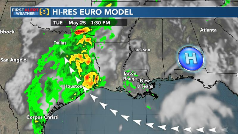 Hi-res Euro model for Tuesday, May 25.