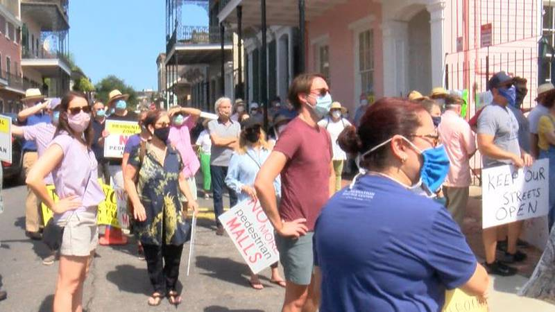 Residents gathered on Orleans Ave to protest city proposal