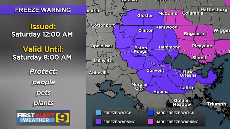Freeze Warning from 12 a.m. to 8 a.m. Saturday, Dec. 26
