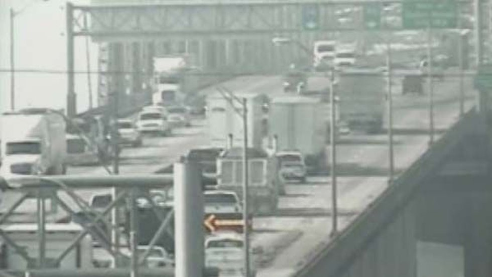 Mud and concrete debris on I-10 West on the Mississippi River Bridge caused backups in the...