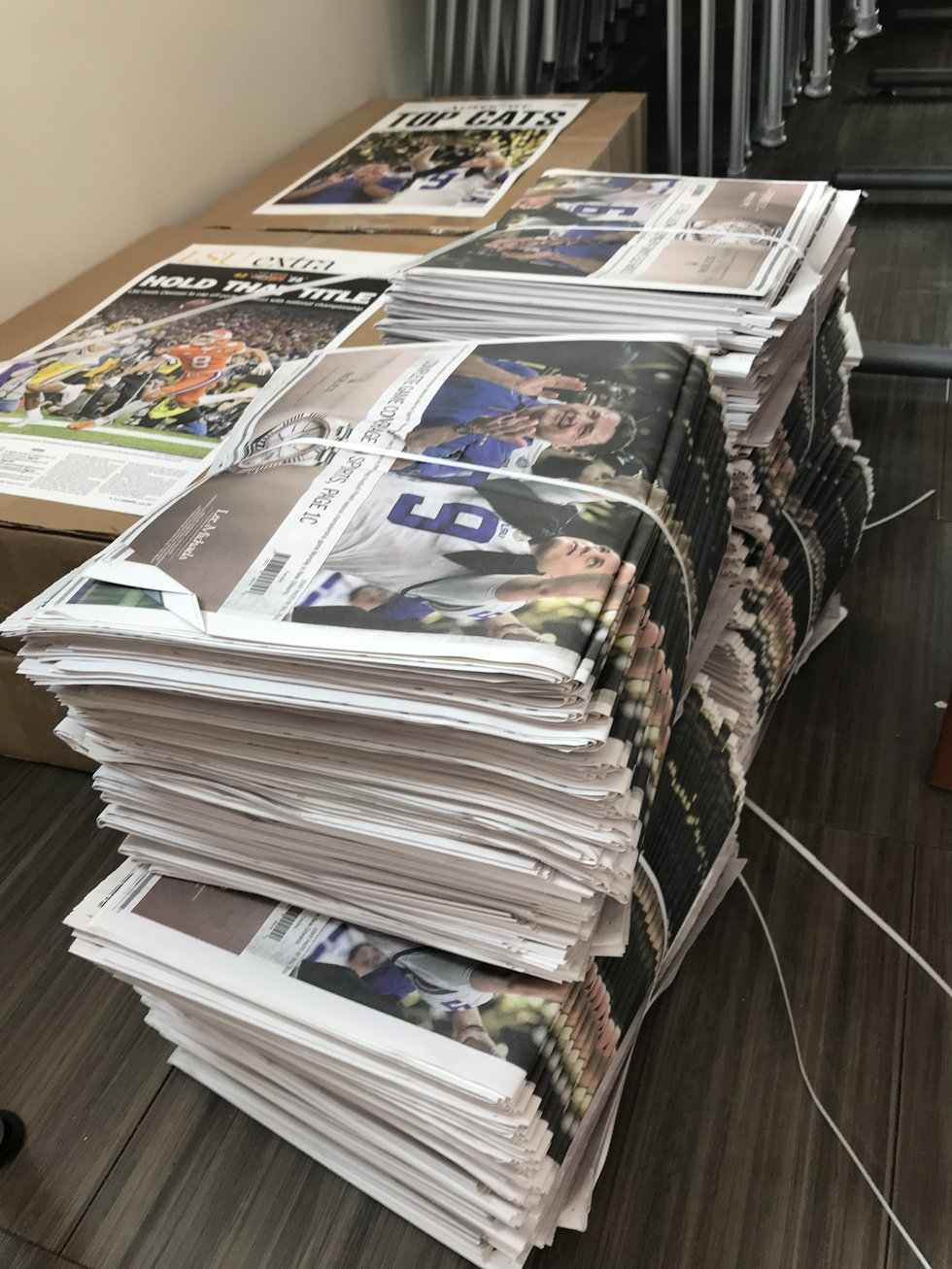 Stacks of Tuesday's newspaper awaiting to be sold. An additional 20,000 papers were printed on...