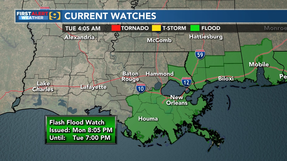 Flash flood watch until Tuesday, June 22 at 7 p.m.