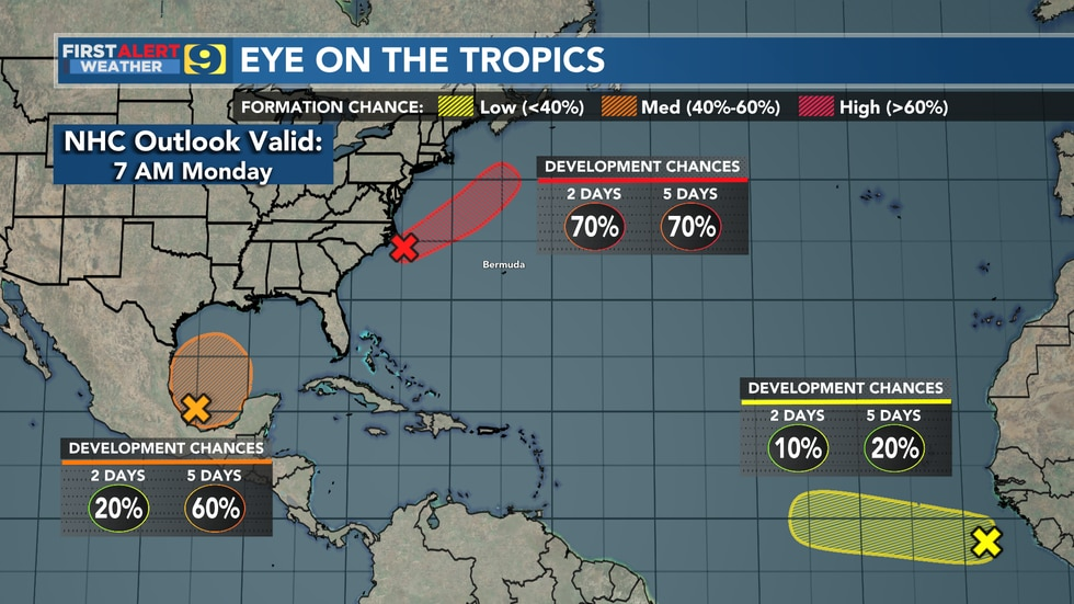 Tropical weather outlook from the National Hurricane Center (NHC) as of 7 a.m. CDT Monday. Note...