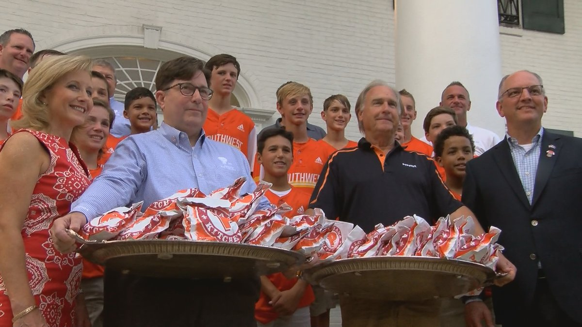 The Eastbank All-Stars from River Ridge, La. were treated to the only Popeyes chicken...