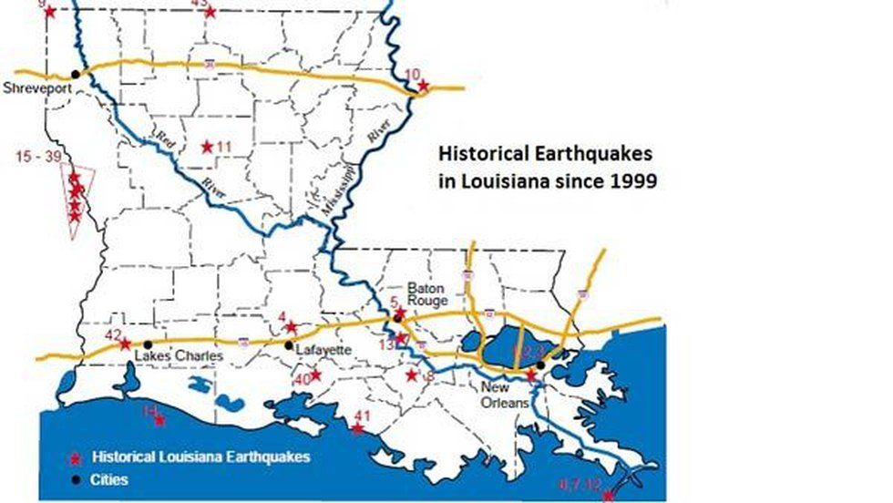 The map shows generalized subsurface faults in Louisiana. The solid red lines show fault lines...