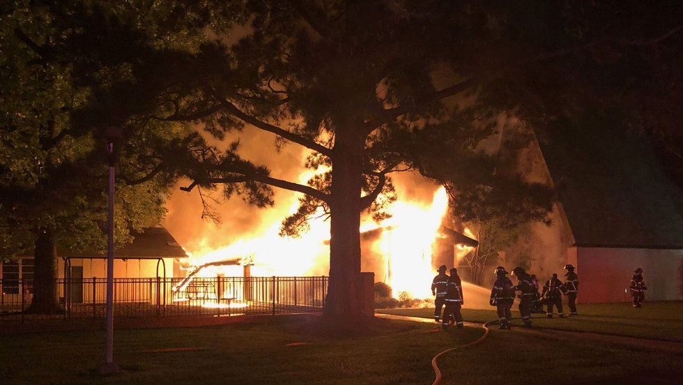 An office building was engulfed in flames Friday morning at Broadmoor UMC.