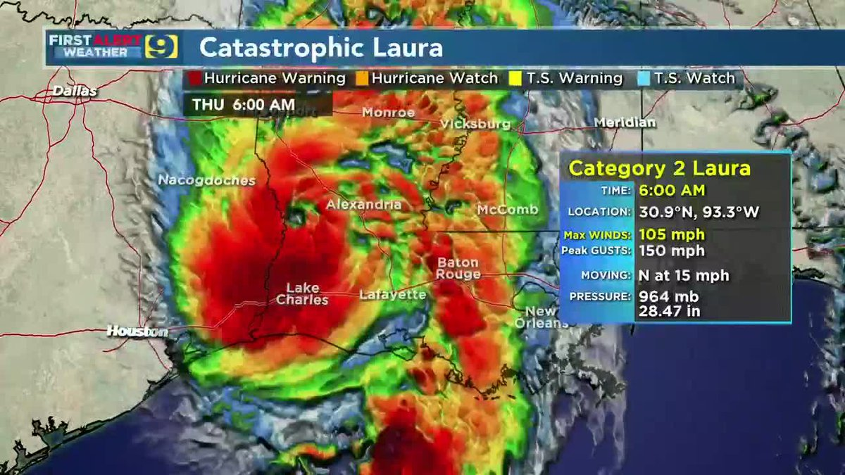 FIRST ALERT FORECAST: Thurs., Aug. 27 - Hurricane Laura slams Gulf coast, weakens