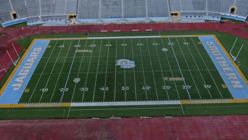 WAFB FILE photo of A.W. Mumford Stadium on Southern University's campus in Baton Rouge, La.