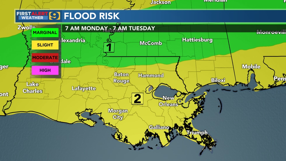 Flood risk for WAFB viewing area through Tuesday, June 22.