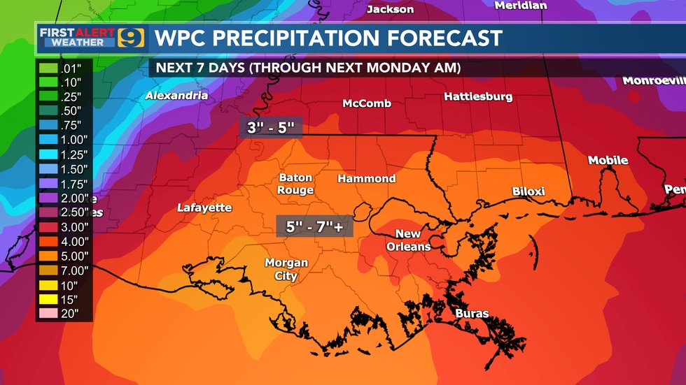 Forecast rainfall from NOAA's Weather Prediction Center (WPC) through 7 a.m., Monday, June 21....