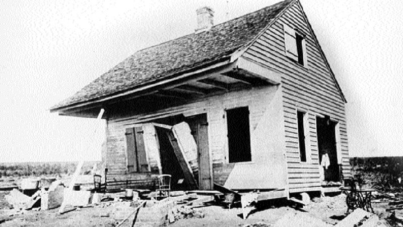 One of the few houses to remain partially intact following the 1893 hurricane in Cheniere...