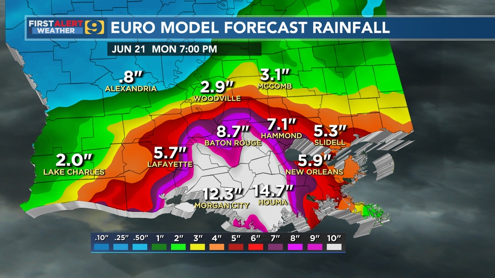 Forecast rainfall from the European model through 7 p.m., Monday, June 21. The forecast shown...