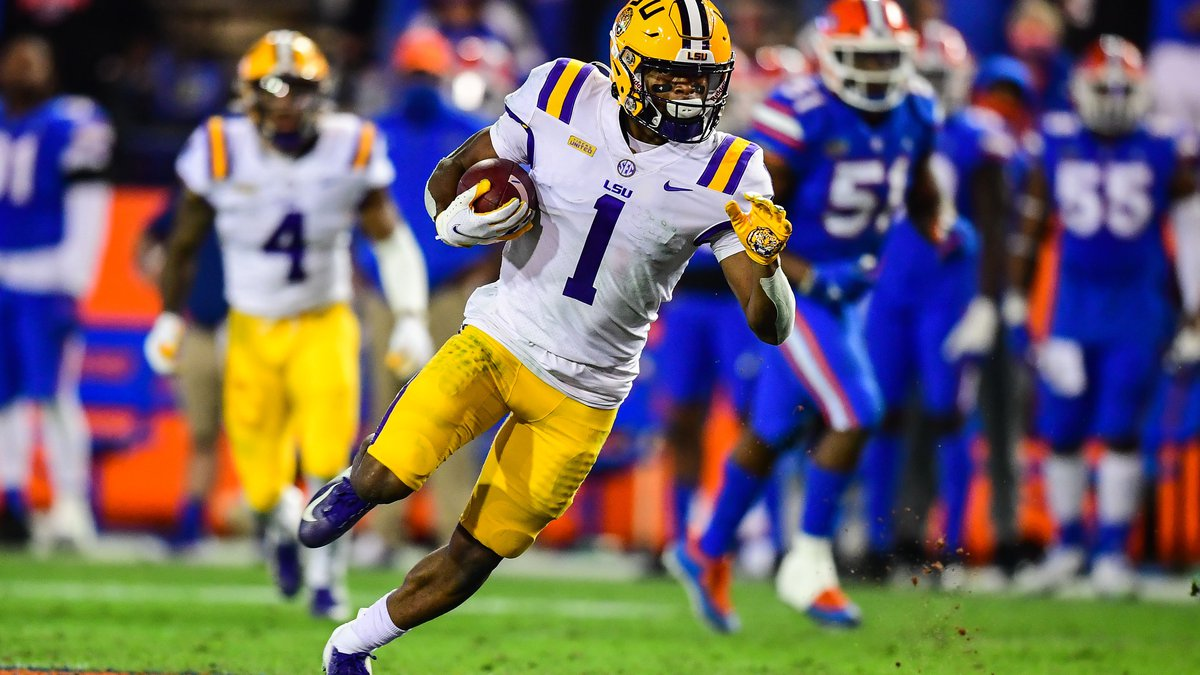 Kayshon Boutte of the LSU Tigers during a game against the Florida Gators at Ben Hill Griffin...