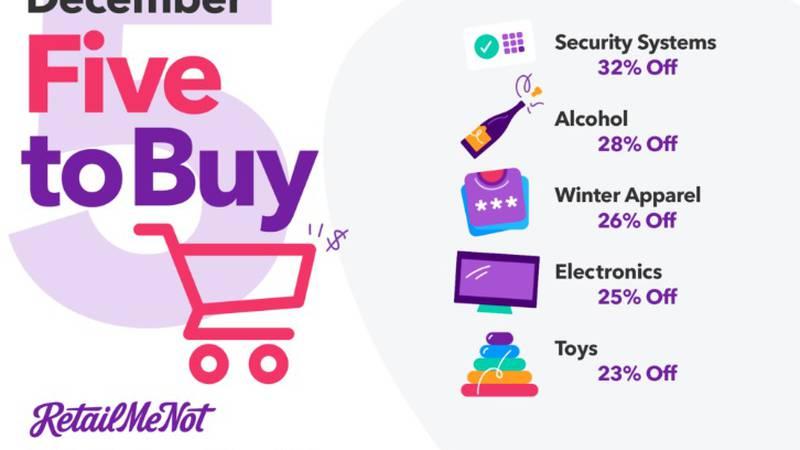 RetailMeNot's December Five to Buy (Source: RetailMeNot.com)