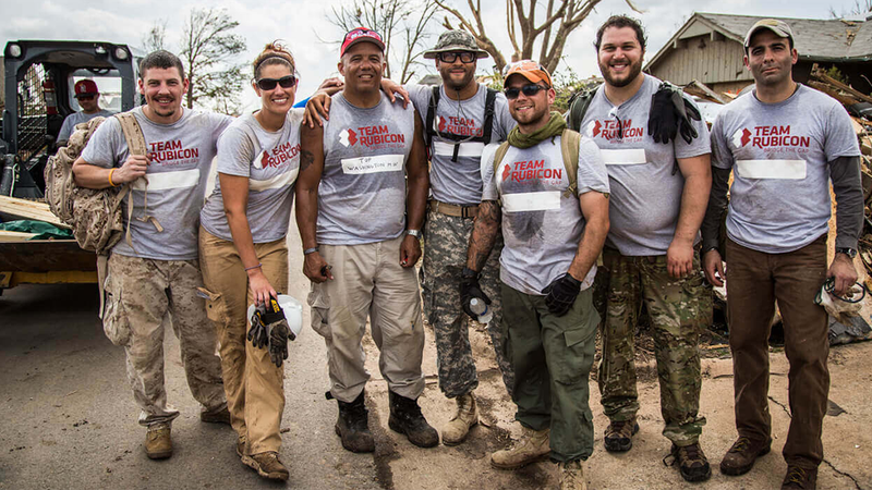 Members of Team Rubicon, a non-profit group made up of veterans, are in Louisiana to help flood...