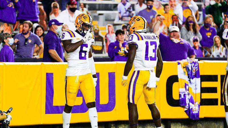 LSU receiver Terrace Marshall celebrates after a touchdown against South Carolina on October...