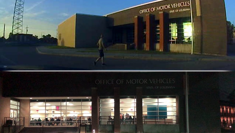 Above: A person arrives at the Veterans Blvd. Office of Motor Vehicles facility in the 6 a.m....