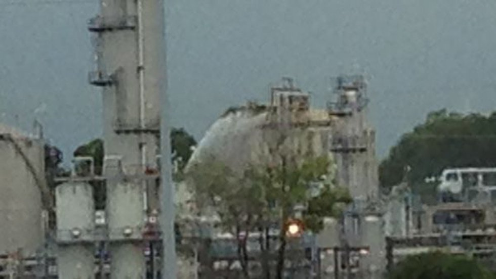 Water being sprayed onto structure at the plant