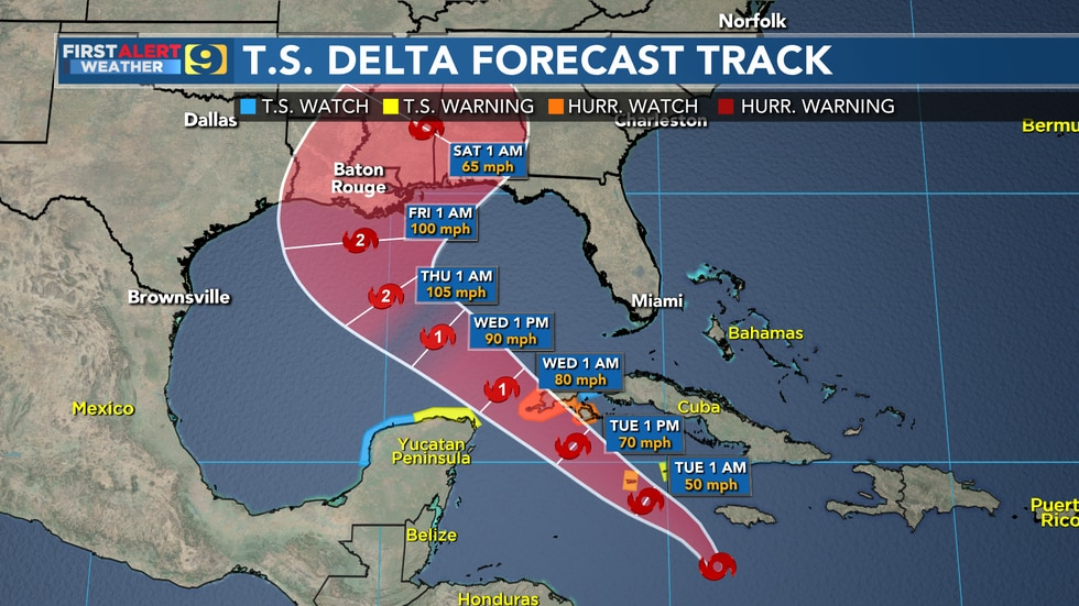 Tropical Depression #26 has strengthened into Tropical Storm Delta.