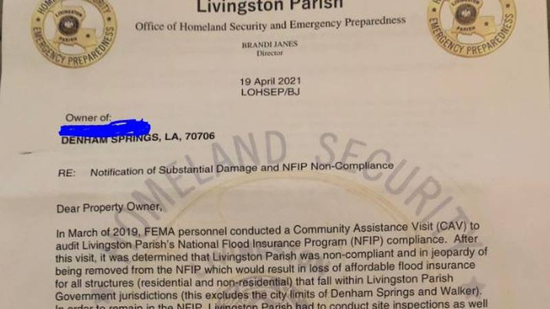 This is the type of letter property owners received from the Livingston Parish Office of...