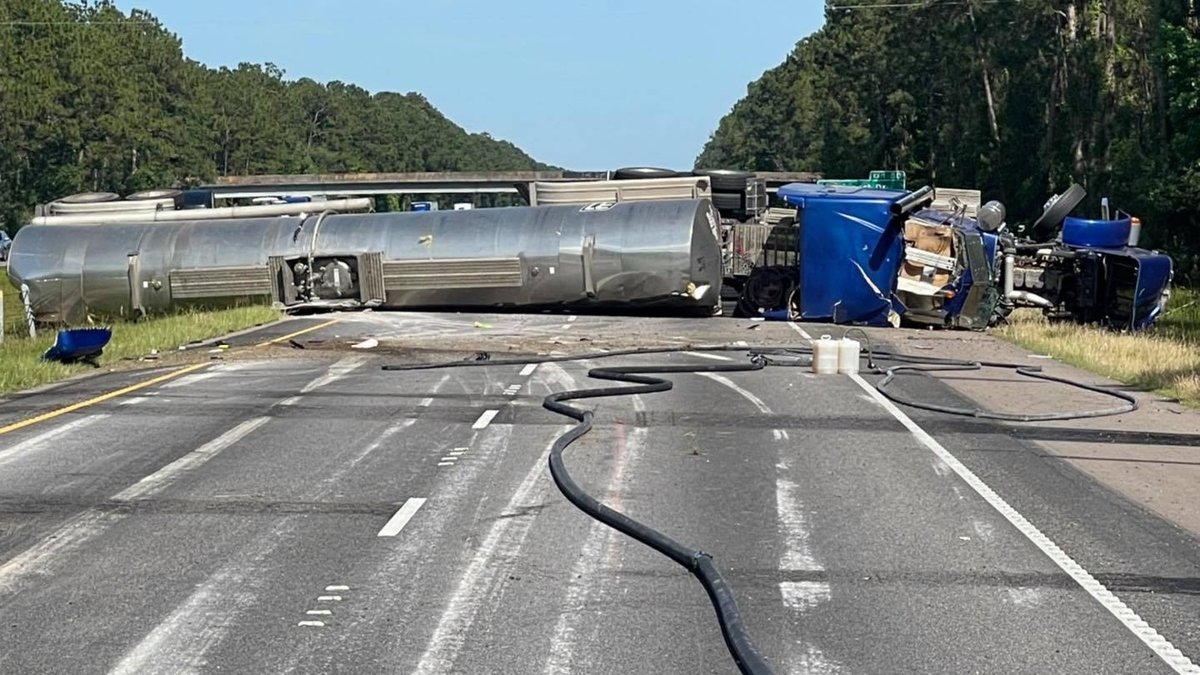 An overturned 18-wheeler has shutdown the eastbound lanes of I-12 Monday evening.