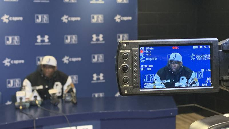 Deion Sanders at the press conference