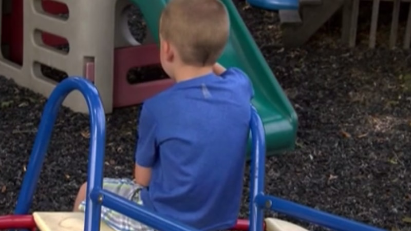 A young boy sits on a playground slide.