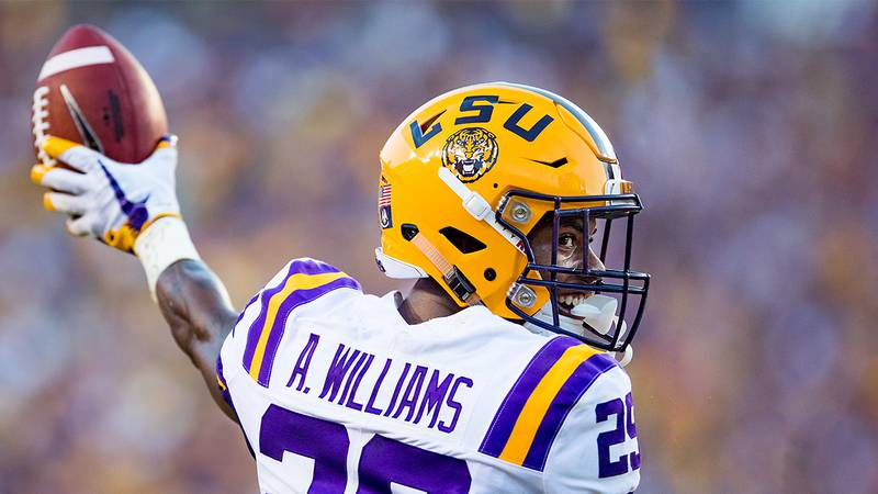 Greedy Williams racked up eight interceptions in two season with the Tigers. (Source: Mark...